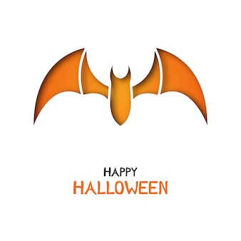 Origami greeting card with bat for halloween celebration.
