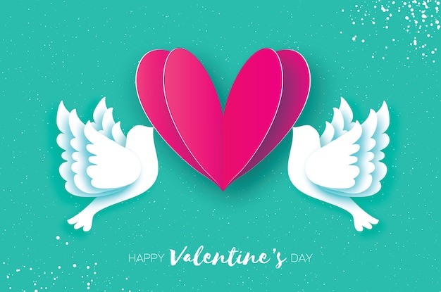 Origami happy valentine's day greeting card