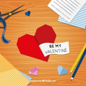 Origami cuore con un messaggio