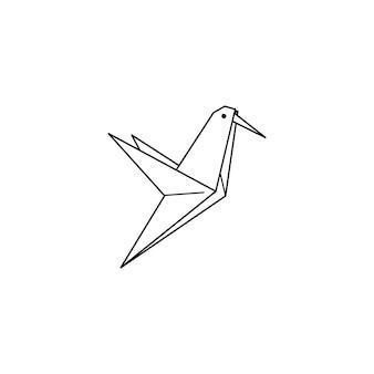 トレンディなミニマルな線形スタイルの折り紙ハチドリのアイコン。折り畳まれた紙の鳥のフィギュア。ロゴ、パターン、タトゥー、ポスター、tシャツのプリントを作成するためのベクトル図