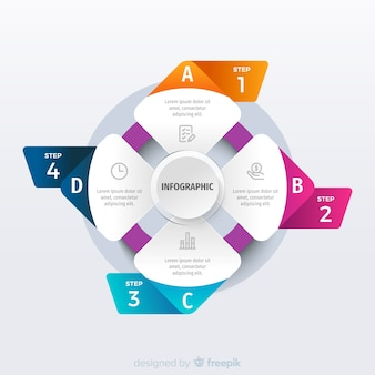 Origami infographic steps