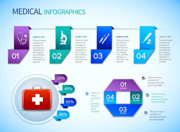 Медицинский шаблон для инфографики оригами