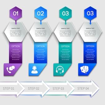 Шаблон обслуживания инфографики оригами