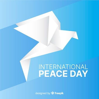 Origami international peace day and dove