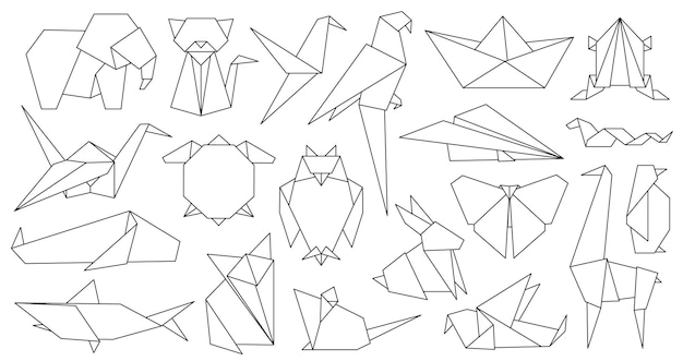 Origami line animals. paper geometric graphic logo and icon bird, fox, crane, mouse, shark and elephant. outline abstract animal vector set. illustration origami hobby, chinese fox and shark paper
