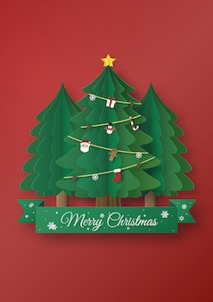 Origami made of christmas trees, paper art design and craft style. merry christmas concept.