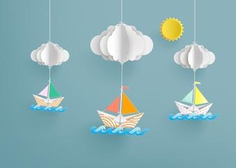 折り紙はカラフルな紙のセーリングボートを作った。