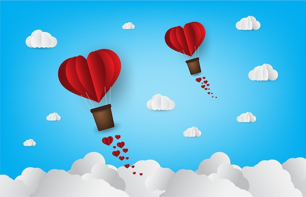 Origami made hot air balloon in a heart shape paper art style love heart