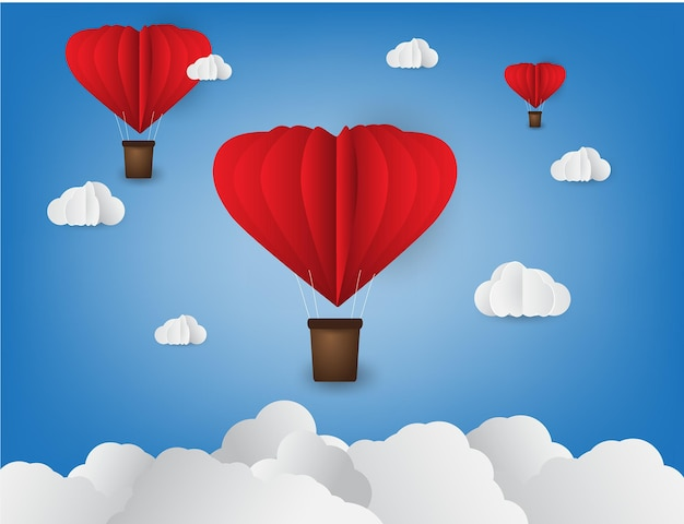 Origami made hot air balloon in a heart shape paper art style valentine day