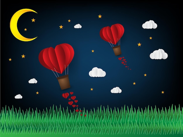 折り紙はハート型の紙アートスタイルの愛の心で熱気球を作りました
