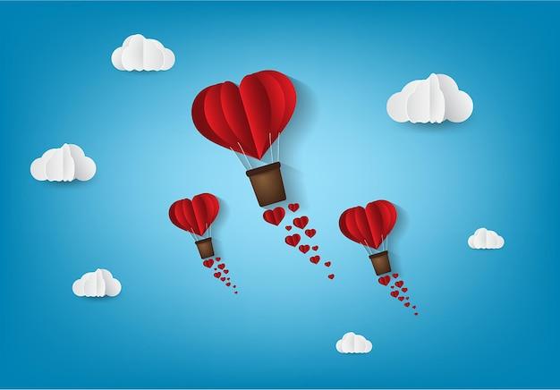 Оригами сделал воздушный шар в форме сердца в стиле бумажного искусства на день святого валентина