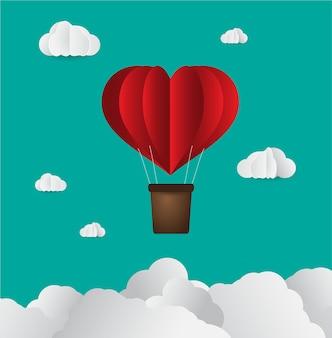 Оригами сделал воздушный шар в форме сердца из бумаги