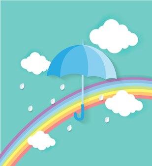 折り紙は虹で傘と雲を作りました。