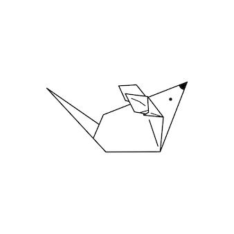 종이 접기 마우스, 트렌디한 미니멀리즘 선형 스타일의 아이콘. 접힌 종이 동물 피규어. 로고, 패턴, 문신, 포스터, 티셔츠에 인쇄를 만들기 위한 벡터 일러스트