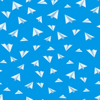 Origami paper airplane vector seamless background