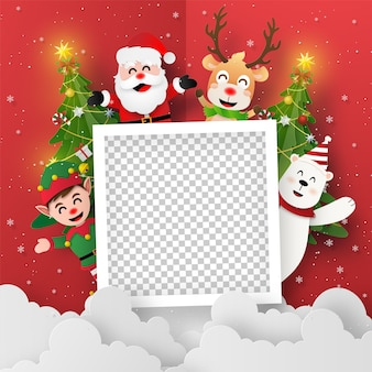 Origami paper art of blank photo with santa claus and friends