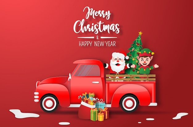 Origami paper art of christmas red truck with santa claus and elf