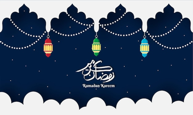 Origami paper art concept for the celebration of islamic festival of holy month of ramadan kareem.