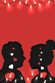 Origami paper art of couple in love stands opposite each other with empty space for your copy, on red  . suitable with invitation, poster, greeting card.