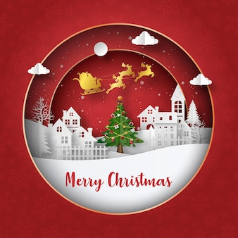 Origami paper art of postcard santa claus with sleigh on the sky in the village