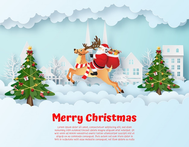 Origami paper art of santa claus and his reindeer in the village