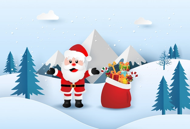 Origami paper art of santa claus with christmas gifts bag in the forest