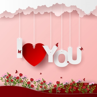 Origami paper art of text i love you in flower garden
