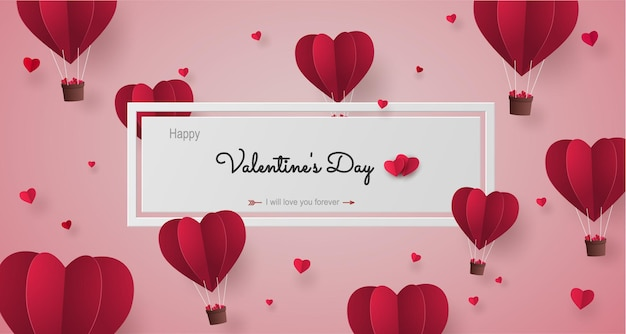 Origami paper balloon heart shape red color flying on the sky with label valentine's day.