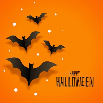 Origami paper bats illustration for happy halloween
