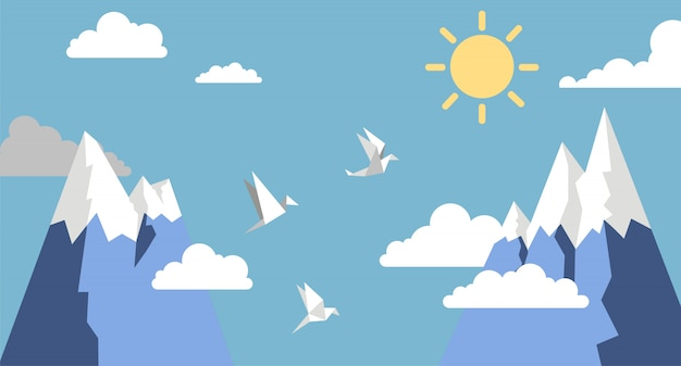 Origami paper birds,mountain ,sun and cloud on blue sky ,  flat style