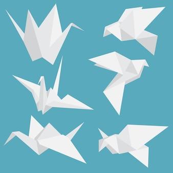 Origami paper birds set