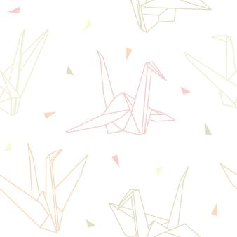 Оригами бумажных журавликов бесшовный фон