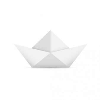Origami paper light gray boat