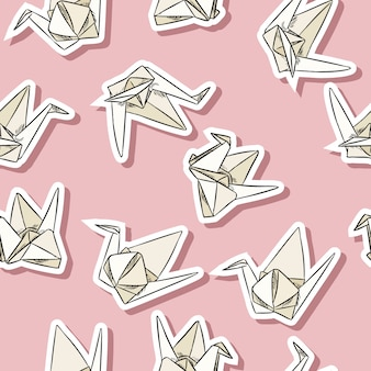 Origami paper swan hand drawn labels seamless pattern