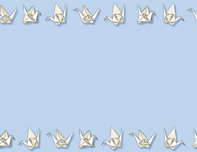 Origami paper swan hand drawn seamless pattern in pastel colors.