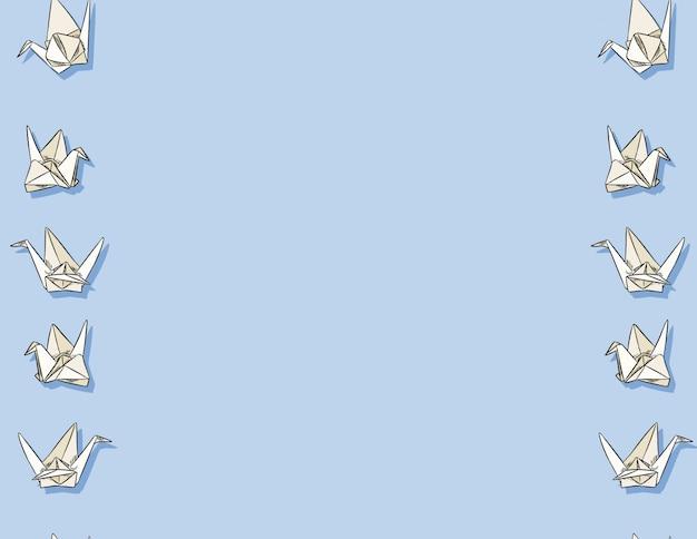Origami paper swan hand drawn seamless pattern