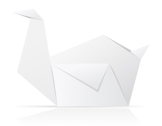 Origami paper swan vector illustration