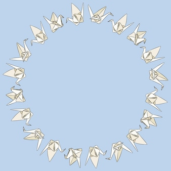 Origami paper swand hand drawn doodles ornament wreath