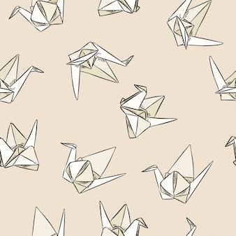 Origami paper swand hand drawn seamless pattern
