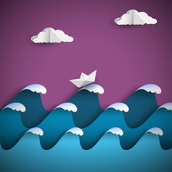 Origami paper waves with clouds and ship