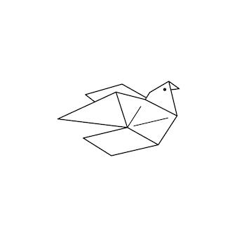 Оригами голубь иконка в модном минималистичном линейном стиле. сложенные фигурки птиц из бумаги. векторная иллюстрация для создания логотипов, узоров, татуировок, плакатов, принтов на футболках