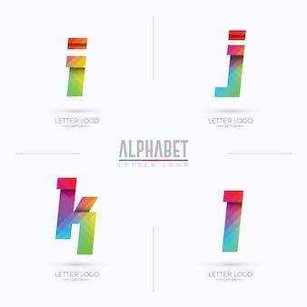 Origami pixelated colorful gradient ijkl alphabets logo