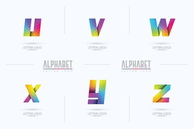 Origami pixelated colorful gradient uvwxyz alphabets logo