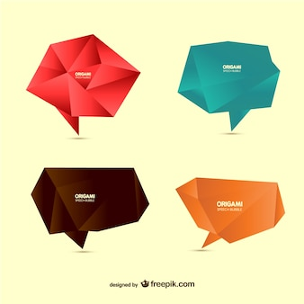 Origami polygonal speech bubbles