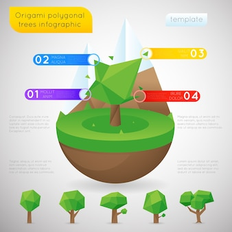Origami polygonal trees infographic template. polygon natural order, statictic content