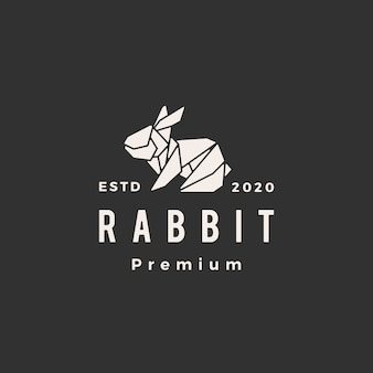 Origami rabbit hare bunny hipster vintage logo icon illustration