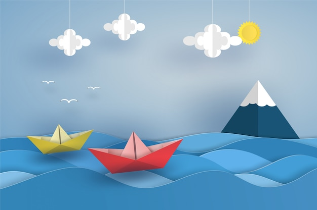 Origami red boat in the ocean on sea wave. vector illustrator design in paper cut concept.
