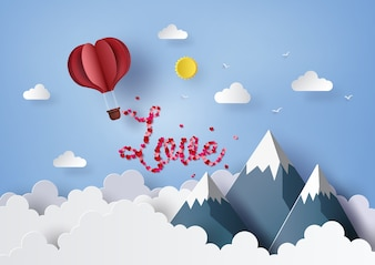 Origami red heart hot air balloon flying on blue sky