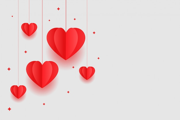 Origami red hearts valentines day background design