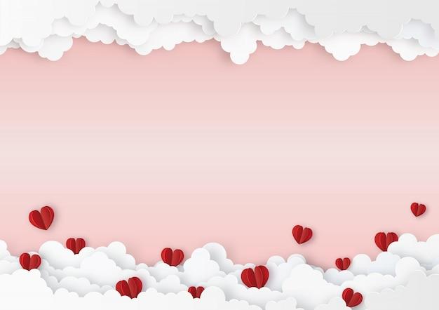 Оригами красные сердца с облаками святого валентина